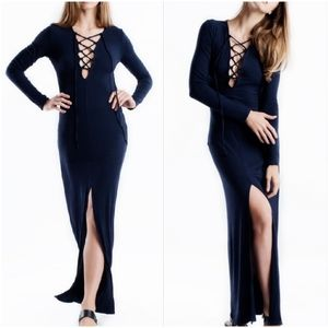 Love In Navy Deep V Lace Up Ribbed Maxi Dress S